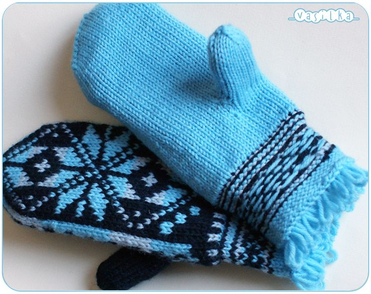 Mittens with Norwegian snowflake Pattern: my own Materials: Taiga classic Siberia (100% merino wool, 300m/100g) 50g black color, 20g grey color and 65g sky blue color; needles 3.5mm and 3mm