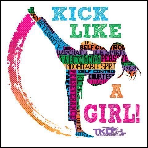 GIRL KICK! - TAEKWONDO T-SHIRT -Yes!- Kick Like a Girl! -MST-419 - Rhino Junction Apparel - 4
