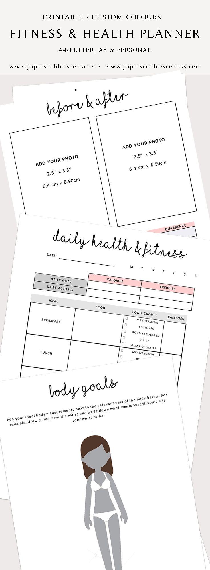 Fitness & Health | Fitness Planner | Health Planner | Weight Loss Planner | Printable Planner | Planner Inserts | Fitness Planner Printable | Fitness Motivation | Fitness Tracker | Weight Planner | Body Goals | Fitness Goals