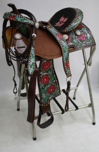 """ONE OF A KIND 16"""" Synthetic saddle with a multi color diamond print overlay"""