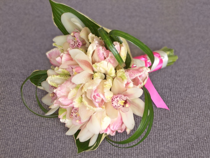 Pink Parrot Tulips and cream Cymbidium orchid bridal bouquet. www.florunique.com
