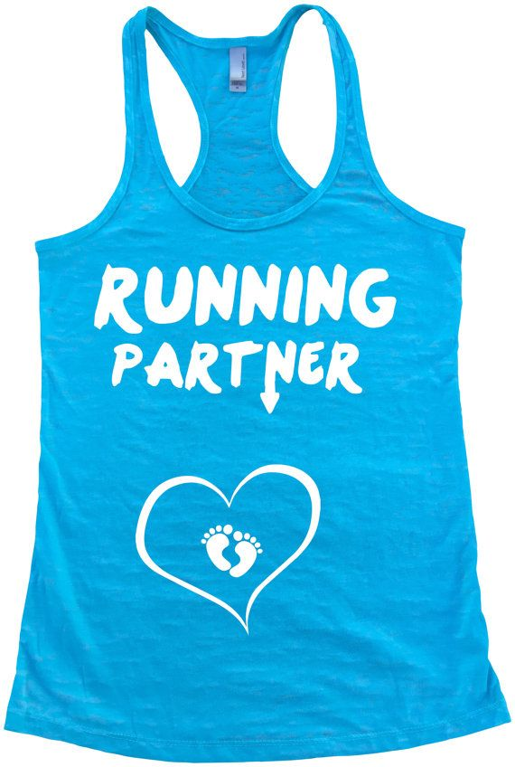 RUNNING PARTNER with BABY feet heart  Pregnant by SuperTeesandHats