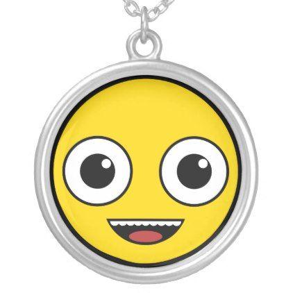 Super Happy Face Silver Plated Necklace - accessories accessory gift idea stylish unique custom