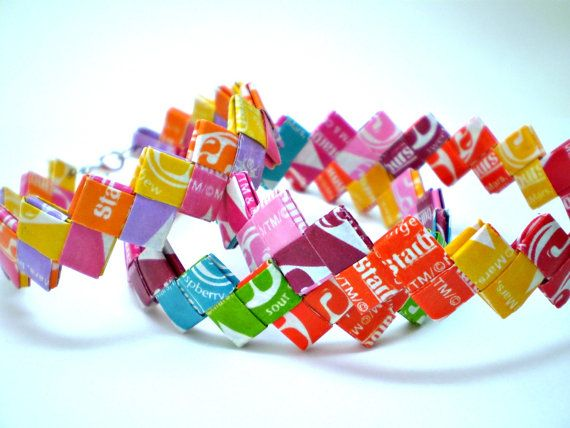 Starburst Recycled Candy Wrapper Bracelet! Fun party favor!