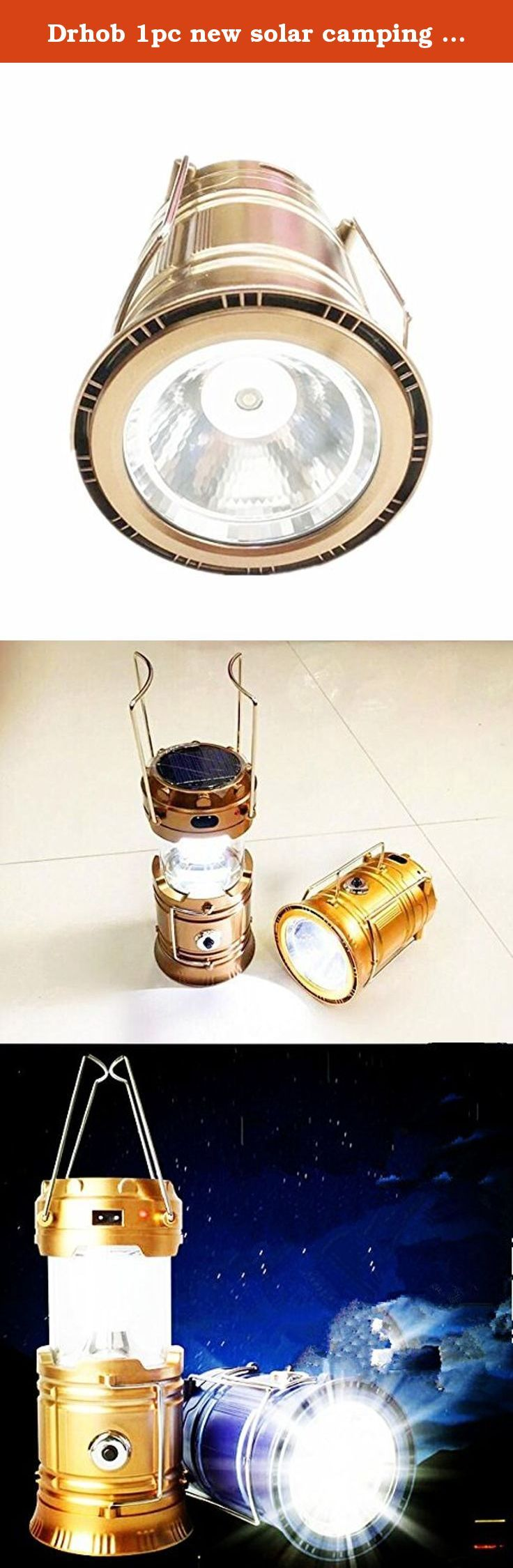 Drhob 1pc new solar camping lamp can stretch emergency small lantern light folding tent camping lamp lantern. New tent lamp, can put can lift can hang, copy the design of the lamp, can be widely used in outdoor camp, tent, rides, fishing, hunting and so on various kinds of outdoor activities, also can be put in when small night lamp used in the home, is a good tool to travel at home. Product features: : (1) with three kinds of power-supply modes, solar charger, battery, charging directly...