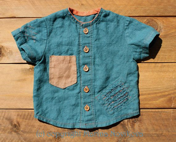 "Linen Shirt ""Monster Claw Scratches"". 100% Natural Flax in Teal. Shirt for Boys in 12-18 mo. Ready To Ship."