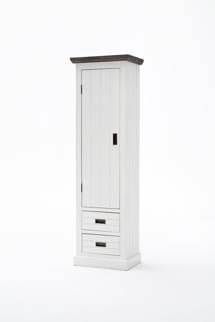 Garderobenschrank Blance links Strukturweiß Passend zum Möbelprogramm Blance 1 x Garderobenschrank Tür öffnet nach links mit 2 Schubkästen 1 Tür 1 Kleiderstange...