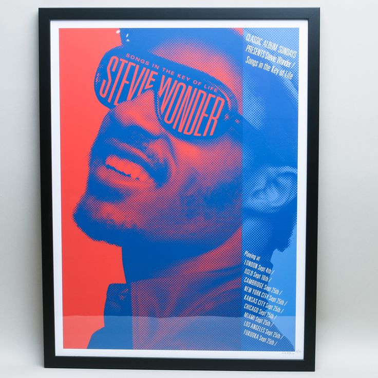 Classic Album Sunday Session Stevie Wonder Print : Classic Album Sunday Session print of Stevie Wonder commissioned by the Flood Gallery to promote the Classica Album Session featuring the iconic Stevie Wonder's album entitled Songs in the Key of Life and signed artwork by Carl Glover.