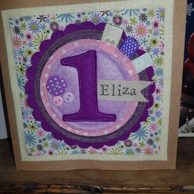 2nd Birthday Card Birthday Card Personalised Birthday Card Etsy Cartes Tissu
