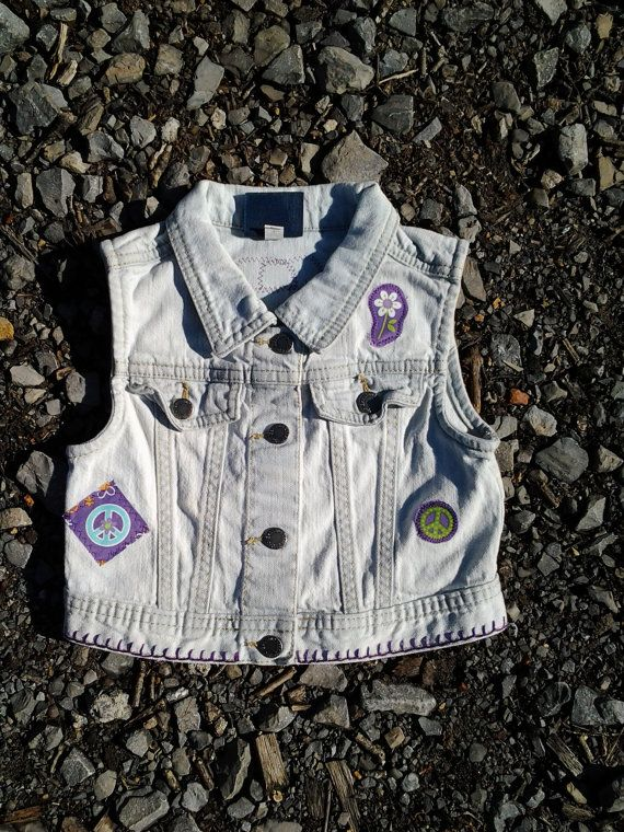 Upcycled Little hippie girl jean vest by MommaHippieCreations