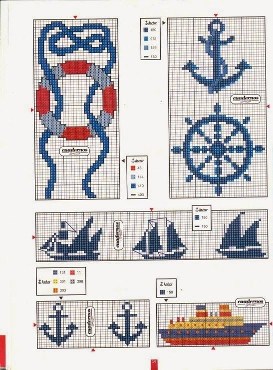 BeyazBegonvil: Denizci Temalı Kanaviçe Şablonları