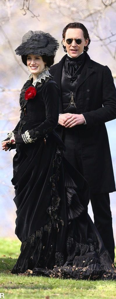 Jessica Chastain and Tom Hiddleston filming 'Crimson Peak' (2015). Costume Designer: Kate Hawley