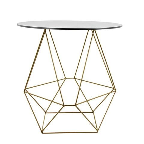 Geo Glass Top Table (Gold) - HOMESPACE