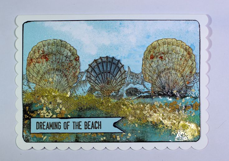 Card create with Seaside Dreams, Underwater and Mermaid Queen stamps from Chocolate Baroque. Anne Waller #chococolatebaroque #stamping #cardmaking
