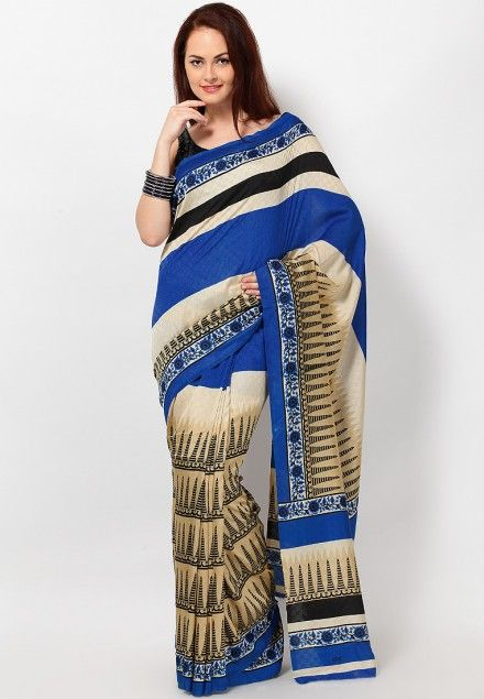 Printed Cotton Blend Blue Saree