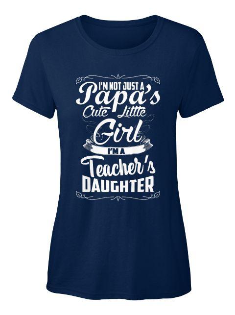 Papa's Cute Little Girl  Women's T Shirt Navy Women's T-Shirt Front