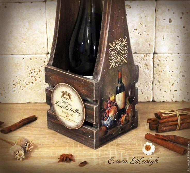 """Купить Короб для вина """" Налёт времени"""" - коричневый, вино, ящик для вина, подставка для вина"""
