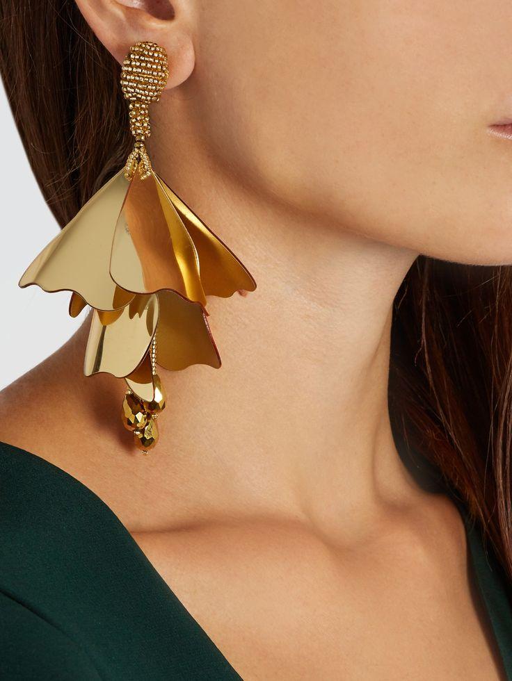 Oscar De La Renta Gold Large Impatiens Flower Drop Earrings LYg6LGpqRS