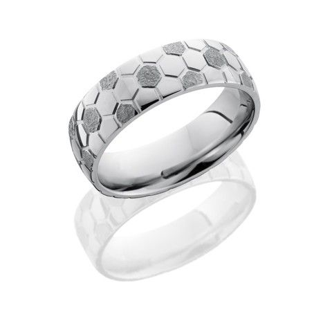 This soccer ring's your ticket to winning your footballer's heart! A 7mm Cobalt Chrome domed band with a soccer ball pattern on your finger will show off how much soccer means to him (or you)!