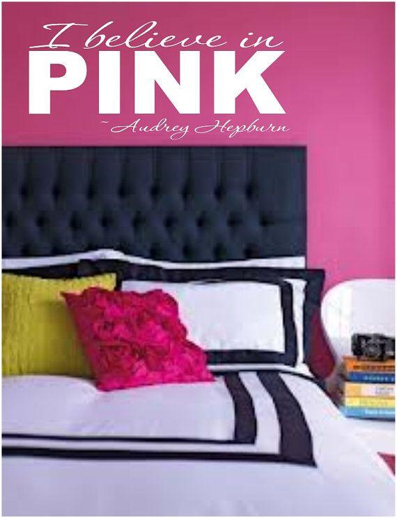 I believe in pink teen girl bedroom Wall art by VinylDecorBoutique, $13.00