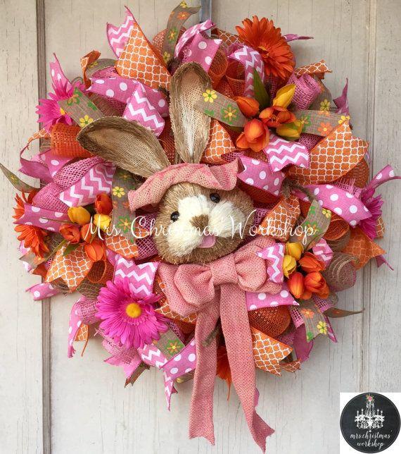 Deco mesh wreath Easter wreath burlap by MrsChristmasWorkshop