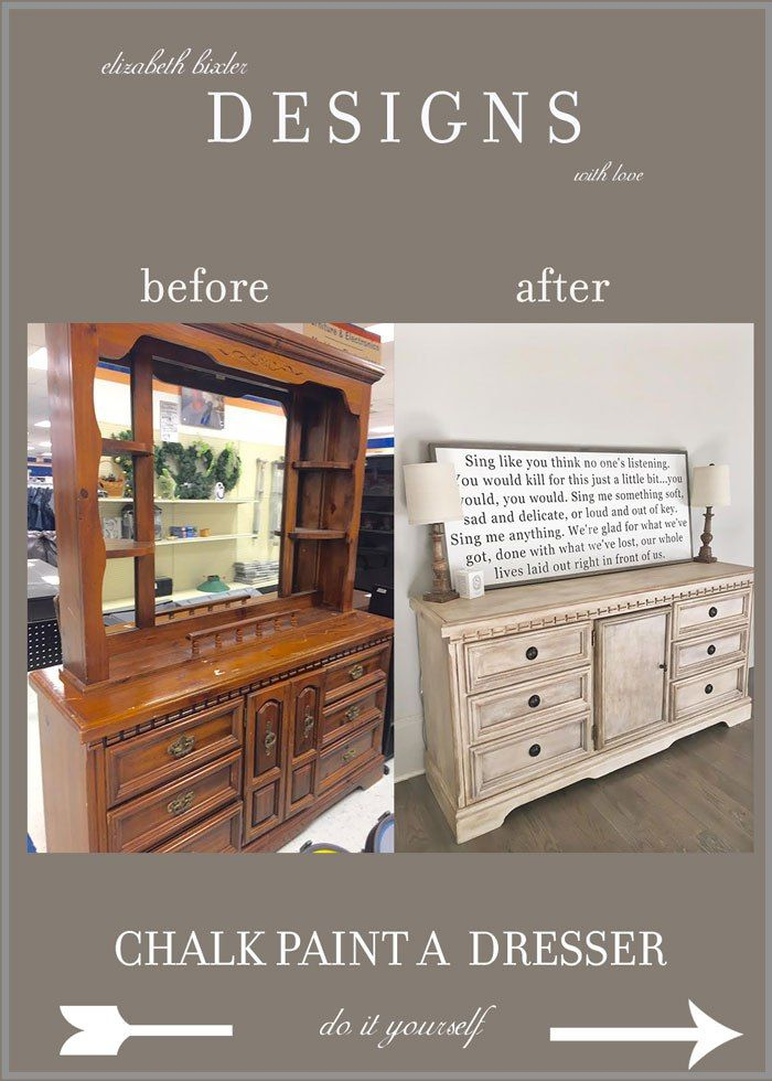 How To Chalk Paint A Dresser Elizabeth Bixler Designs Pinterest Diy And