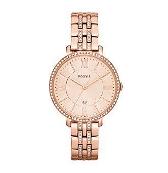 Fossil® Women's Jacqueline Rose Goldtone Bracelet Watch with Glitz Bezel