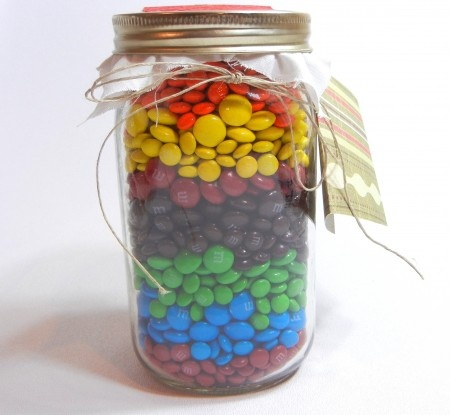 MASON JAR GIFT ... Use M or Jelly Bellies in your giftee's fave colors.