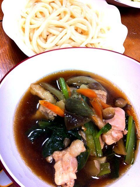 鶏肉、葱、生姜に根菜類で濃い目の汁で… - 1件のもぐもぐ - つけ麺(冷うどん) by yumama