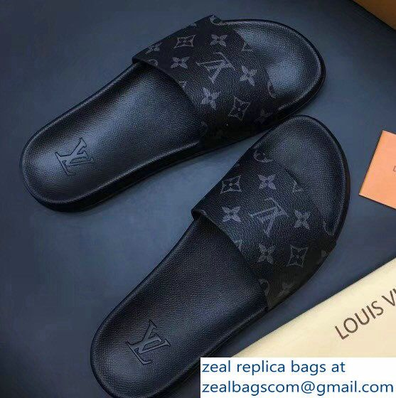 6637e5c05 Louis Vuitton Waterfront Mules Men  s Slipper Sandals Monogram Eclipse  Canvas 2018 Slipper Sandals