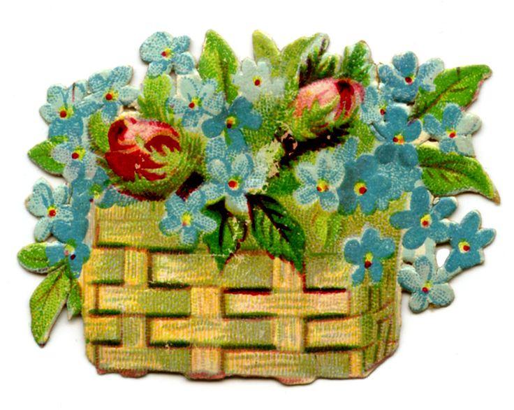 Antique Pictures – Flower Baskets – Doves