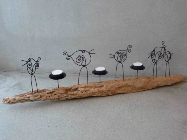uccelli in filo di ferro