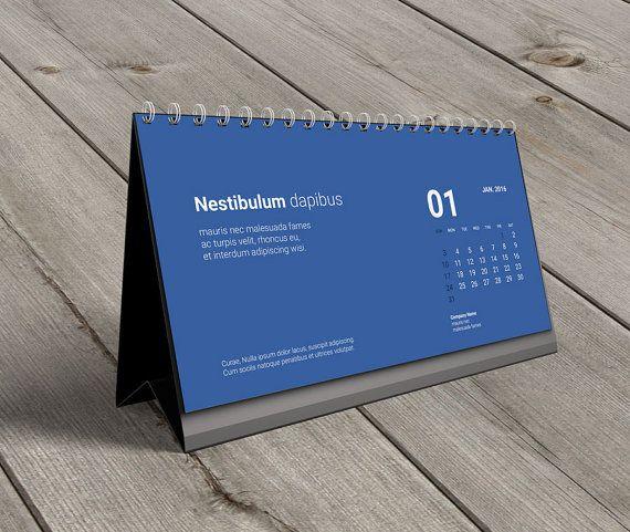 Desk Calendar 2016 Template KB20-W8. Digital by CalendarsTemplates