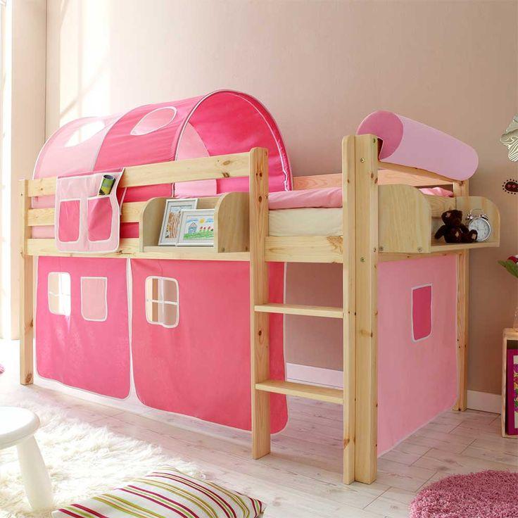 Cute Hochbett f r Kinder Tunnel und Vorhang in Pink Rosa Jetzt bestellen unter https