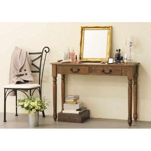 B-COMPANY Online Shop/拡大画像arcコンソールテーブル 雰囲気たっぷりの天然木コンソールテーブルです。 奥行きが37cmと薄型ですので、リビングや玄関に置いても邪魔になりません。木目が美しいコンソールにお気に入りのインテリアや季節のお花などを飾って空間を素敵に演出してみてはいかがですか♪