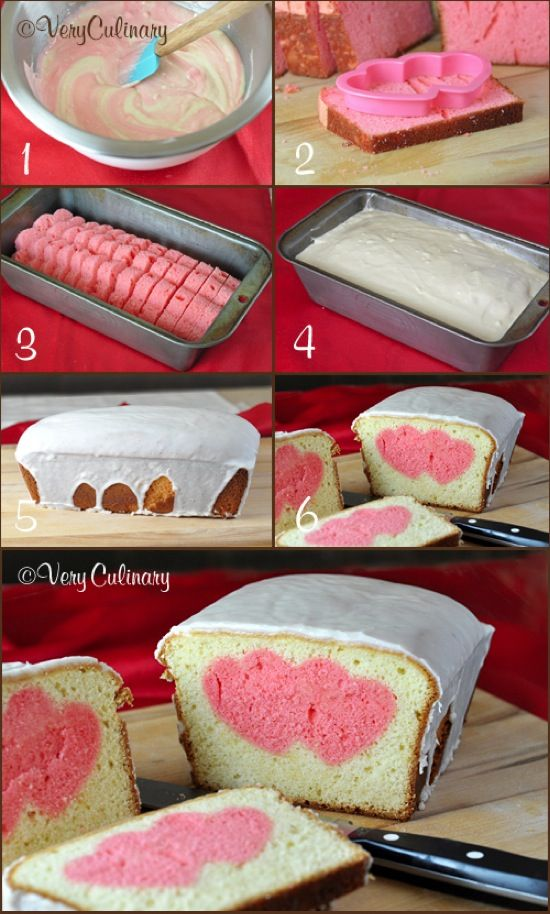 Valentine's Day Peek-A-Boo Pound Cake Ingredients 2 (16 ounce) boxes Betty Crocker Pound Cake mix 1/2 cup (1 stick) unsalted butter, divided, softened 4 eggs, divided 1 1/3 cups milk, divided red f...