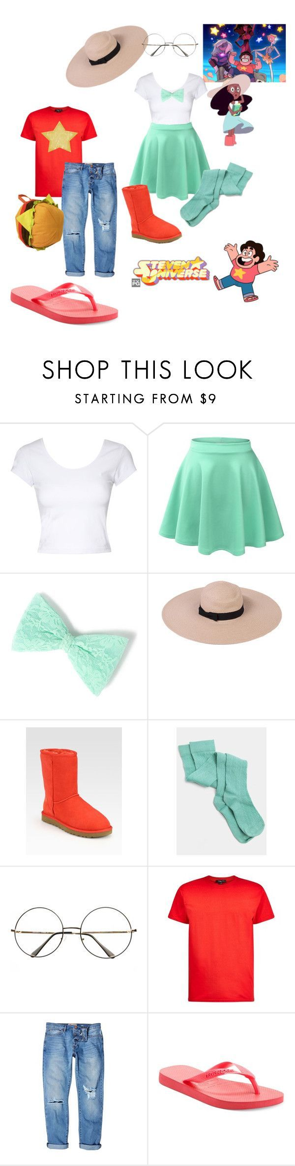 """""""Steven Universe !!"""" by danii-lopez-nightsword ❤ liked on Polyvore featuring Jane Norman, LE3NO, UGG Australia, River Island, Havaianas, Halloween, cosplay, halloweencostume, Connie and stevenuniverse"""