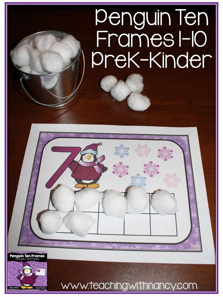 ***  FREE DOWNLOAD  *** Penguin Ten Frames for 1-10 perfect for preK and kindergarten math stations.:
