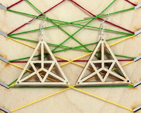 Triangles wooden earring - jewelry - laser cut - light weight - bridal earrings - for woman - fashion - rings - pairs - laser art - plywood