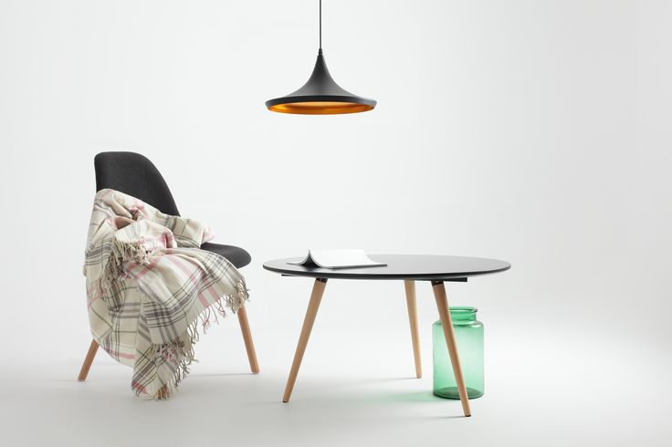 Adorable black coffe table, stylih lamp and modern chair. Design from love.