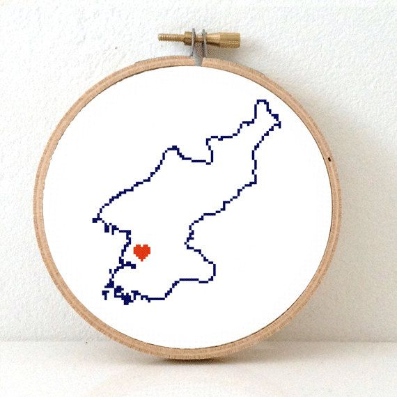 North Korea Map Cross Stitch Pattern. North Korea by koekoek, €3.95