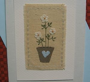 Hand-stitched card designed and made by Helen Drewett LITTLE WHITE FLOWERS | eBay