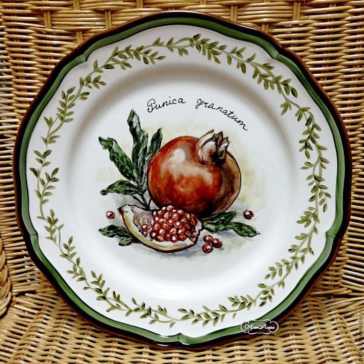 """Купить Тарелка фарфоровая """"Гранат"""" - ярко-красный, тарелка, Тарелка декоративная, тарелка сувенирная"""