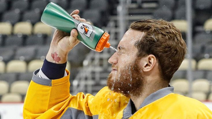Pittsburgh, PA - MAY 29: Colton Sissons #10 of the Nashville Predators prepares for the morning skate prior to Game One of the 2017 NHL Stanley Cup Final at PPG Paints Arena on May 29, 2017 in Pittsburgh, Pennsylvania.