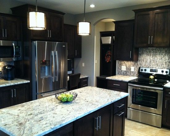 Sw mega greige paint dark cabinets this is my wall color for Perfect kitchen colours