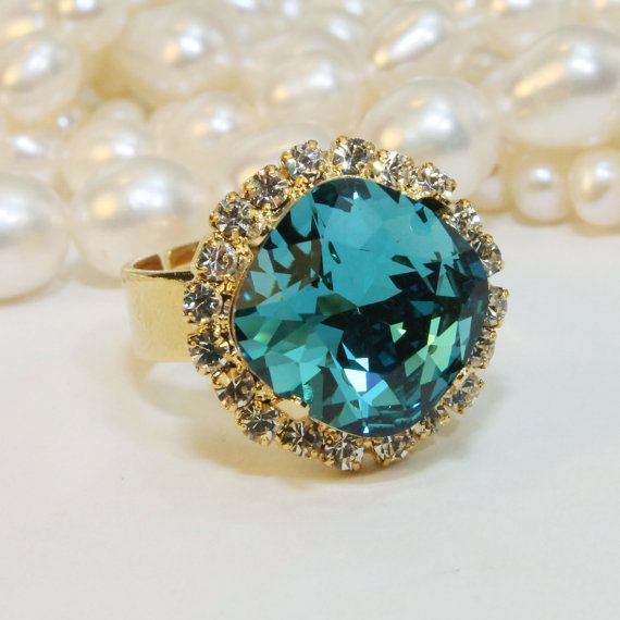 Peacock Ring Teal Swarovski Crystal Adjustable Cushion Square Cut Cocktail Ring Blue Green Peacock Wedding Bridesmaids,Gold,Indicolite,GR54