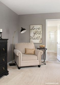 We love this sitting area for a Master Suite, especially the sign.
