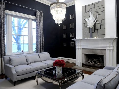 Navy Blue Walls With Gray Living Room