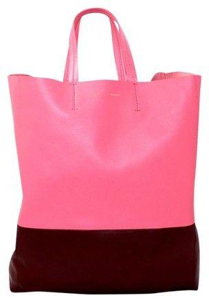 Céline And Burgundy Lambskin Bi Color Cabas Pink Tote Bag | Totes on Sale