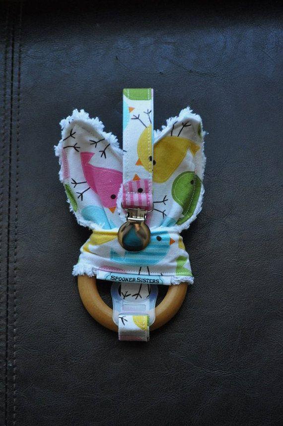 Spring Birds Wooden Organic Teething by SpoonerSistersDesign, $30.00